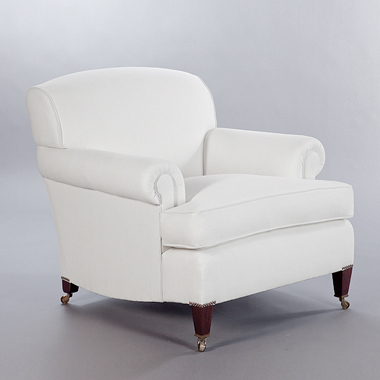 Short Scroll Arm Signature Chair. Monica James & Co. Miami Design District, South Florida. Local nation wide delivery.