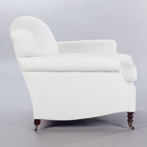Laid Back Scroll Arm Signature Chair. Monica James & Co. Miami Design District, South Florida. Local nation wide delivery.