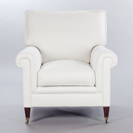 Full Scroll Arm Signature Chair with Loose Back Cushion. Monica James & Co. Miami Design District, South Florida. Local nation wide delivery.