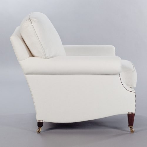 Laid Back Scroll Arm Signature Chair with Loose Back Cushion. Monica James & Co. Miami Design District, South Florida. Local nation wide delivery.