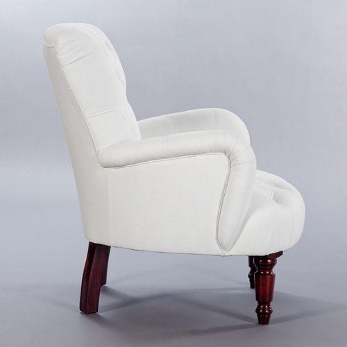 Buttoned Bedroom Chair. Monica James & Co. Miami Design District, South Florida. Local nation wide delivery.