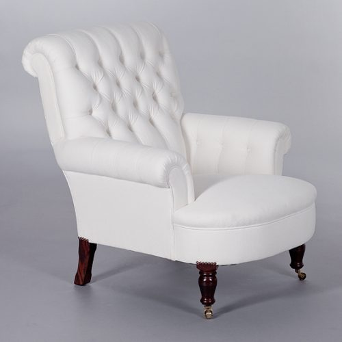 Button Back Scroll Arm Chair. Monica James & Co. Miami Design District, South Florida. Local nation wide delivery.