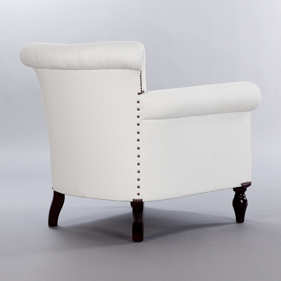 Scaled Up Library Buttoned Chair. Monica James & Co. Miami Design District, South Florida. Local nation wide delivery.