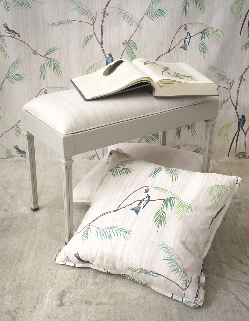 Bench Fabric: Alex, Blush – Throw Pillows: Shelby, Blush Green Red | Monica James & Co | Miami Design District