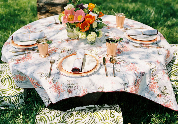 Tablecloth: Victorian Mod, Violet Coral – Seat Cushions: Zen Garden, Moss | Monica James & Co | Miami Design District