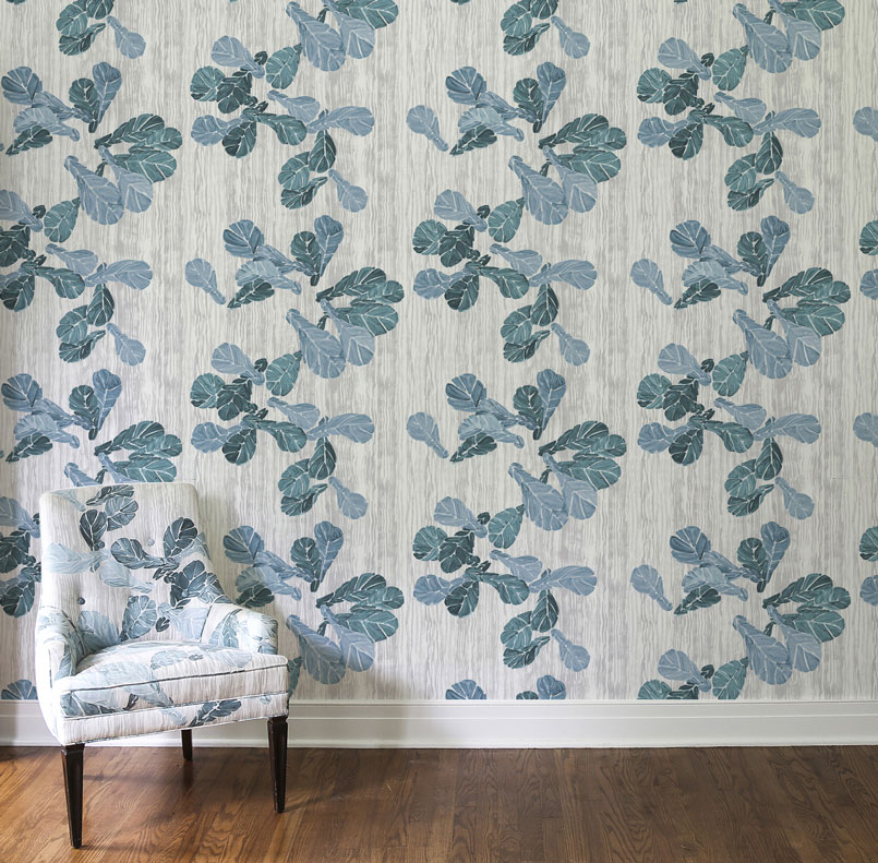 Wallpaper/Chair: Fiddle Leaf Fig, Sea Glass Flax