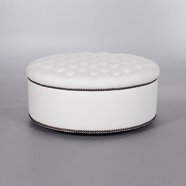 Round Buttoned Pouffe. Monica James & Co. Miami Design District, South Florida. Local nation wide delivery.