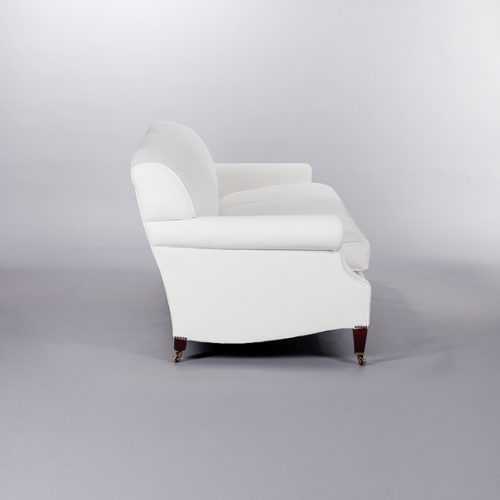 Laid Back Scroll Arm Signature Sofa. Monica James & Co. Miami Design District, South Florida. Local nation wide delivery.