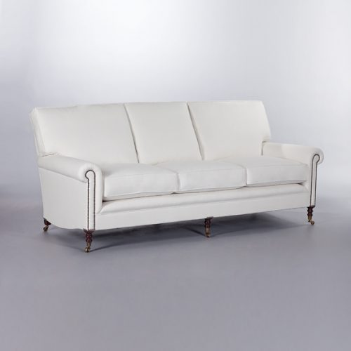 Full Scroll Arm Signature Sofa with Loose Back Cushions. Monica James & Co. Miami Design District, South Florida. Local nation wide delivery.