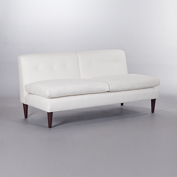 Brompton Fixed Back Armless Sofa. Monica James & Co. Miami Design District, South Florida. Local nation wide delivery.