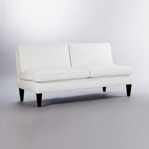 Brompton Loose Back Cushion Armless Sofa. Monica James & Co. Miami Design District, South Florida. Local nation wide delivery.
