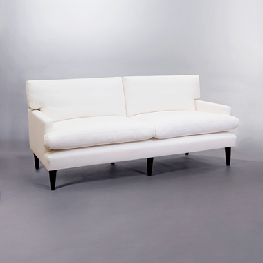 Brompton Loose Back Cushion Short Arm Sofa. Monica James & Co. Miami Design District, South Florida. Local nation wide delivery.